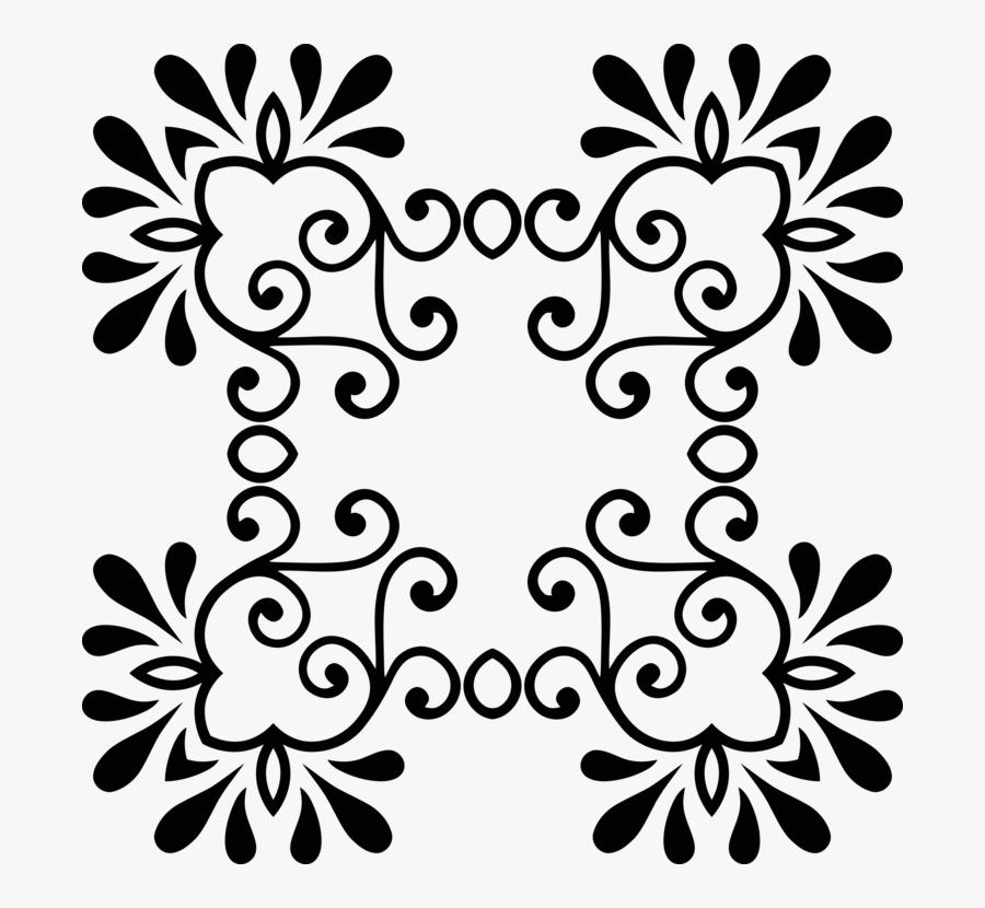 Symmetry,monochrome Photography,petal - Black Floral Png Designs, Transparent Clipart