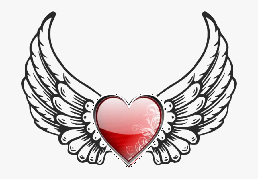 Angel Wings Clipart , Png Download - Heart With Angel Wings Silhouette, Transparent Clipart