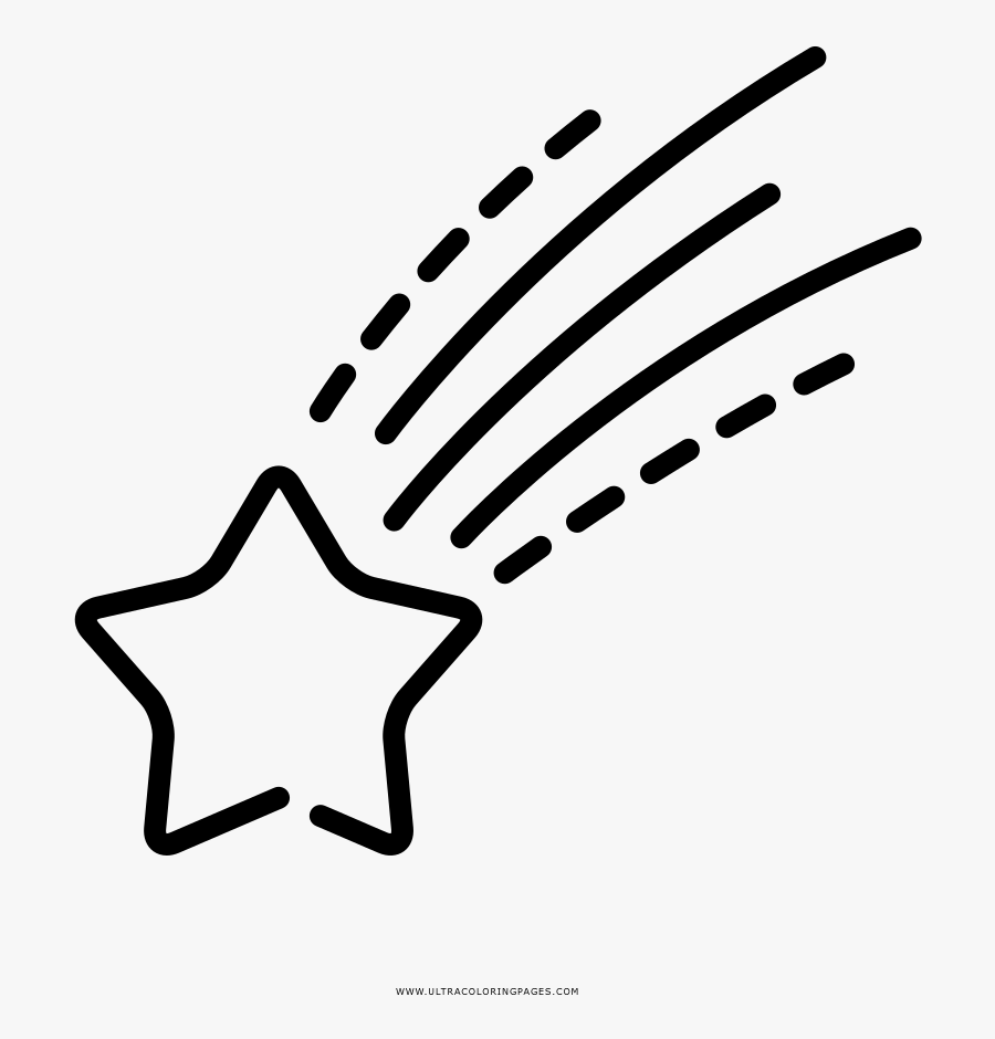 Shooting Star Coloring Page - Transparent Shooting Star Outline, Transparent Clipart
