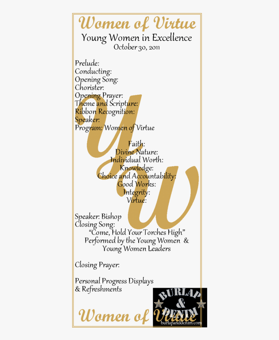 Excellence Program Of Virtue Gold Personal - Yw In Excellence Program Template, Transparent Clipart
