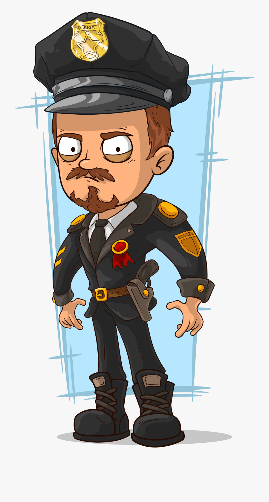 Cop Clipart Police Chief - Cop Cartoon Drawing, Transparent Clipart