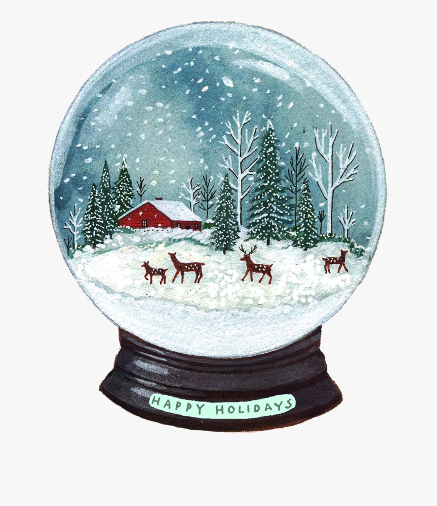 Transparent Snow Globes Clipart - Winter Season Drawing At Plate, Transparent Clipart