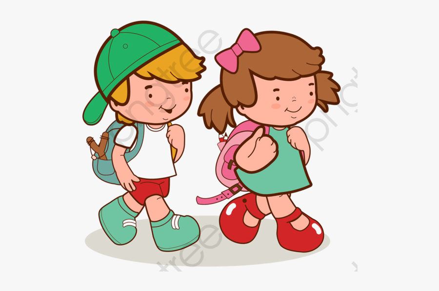 Hand Painted Go To - Student With School Bag Cartoon, Transparent Clipart
