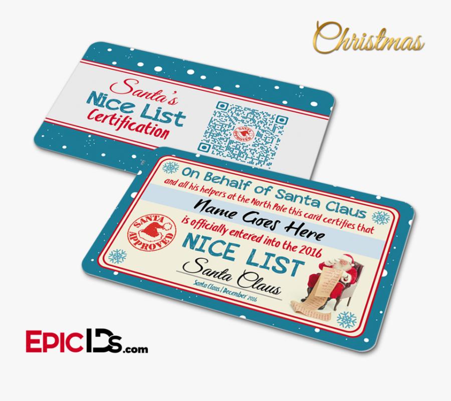"""Santa""""s Nice List Name Card Christmas""""  Class=""""lazyload - Santa Nice List Card, Transparent Clipart"""