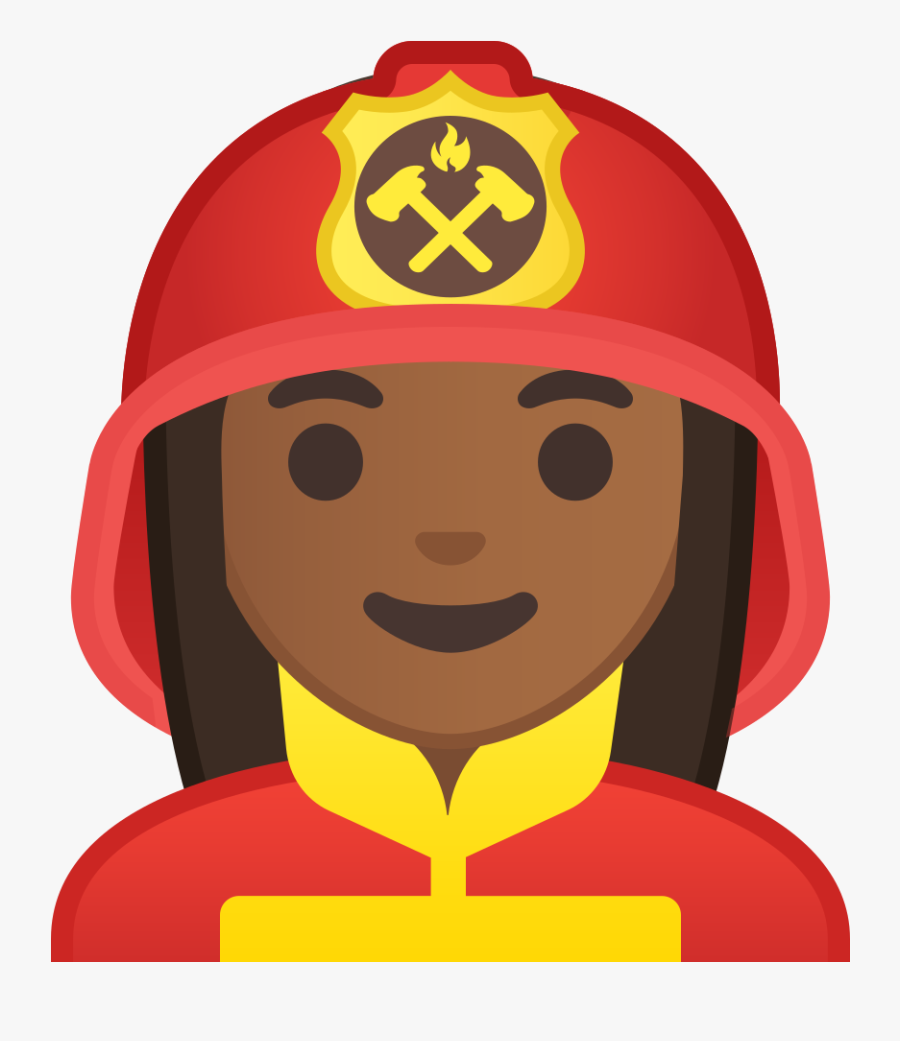Woman Firefighter Medium Dark Skin Tone Icon - Firefighter Emoji Png, Transparent Clipart