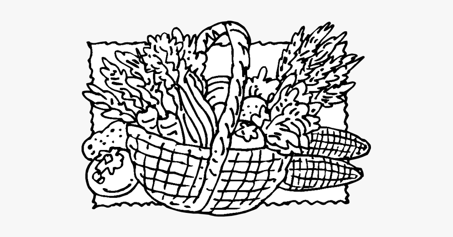 Png Colouring Basket With Vegetables, Transparent Clipart