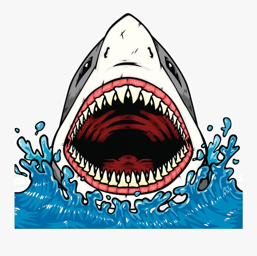 Transparent Shark Clip Art - Shark Mouth Open Drawing, Transparent Clipart