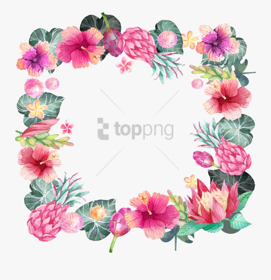 Hawaiian Art,font,malvales,mallow Glory,blossom,herbaceous - Flower Paint Border Design, Transparent Clipart