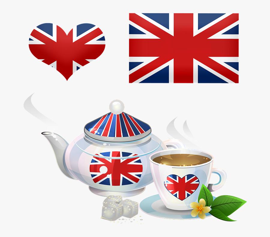 British Tea, Teapot, Tea Cup, British Flag, Union Jack - Union Jack Transparent Background, Transparent Clipart