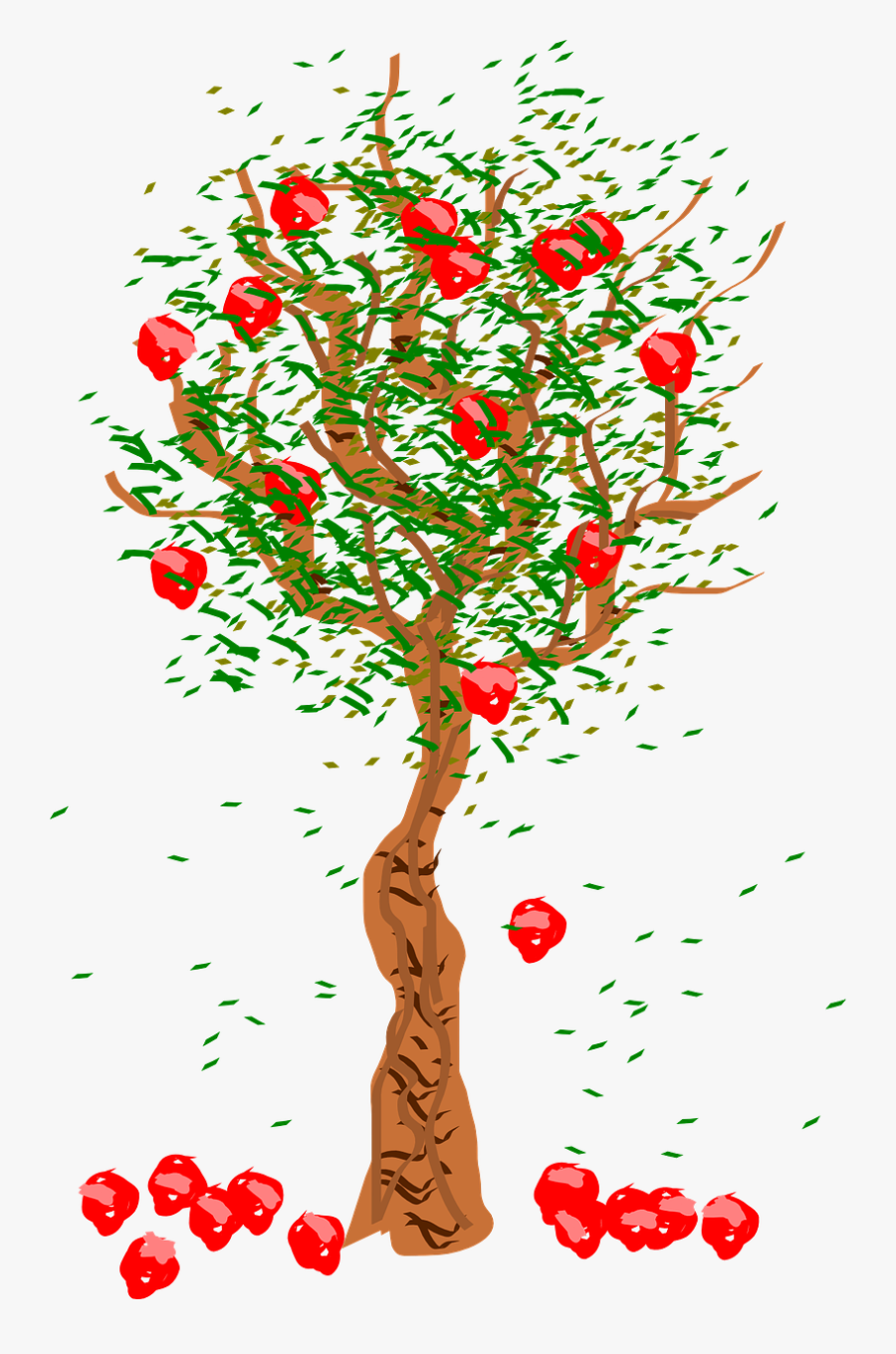 Fruits Falling From Tree, Transparent Clipart