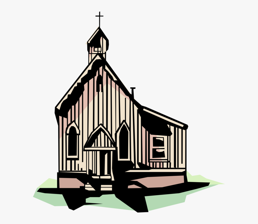 Vector Illustration Of Christian Country Wooden Church - Illustration, Transparent Clipart