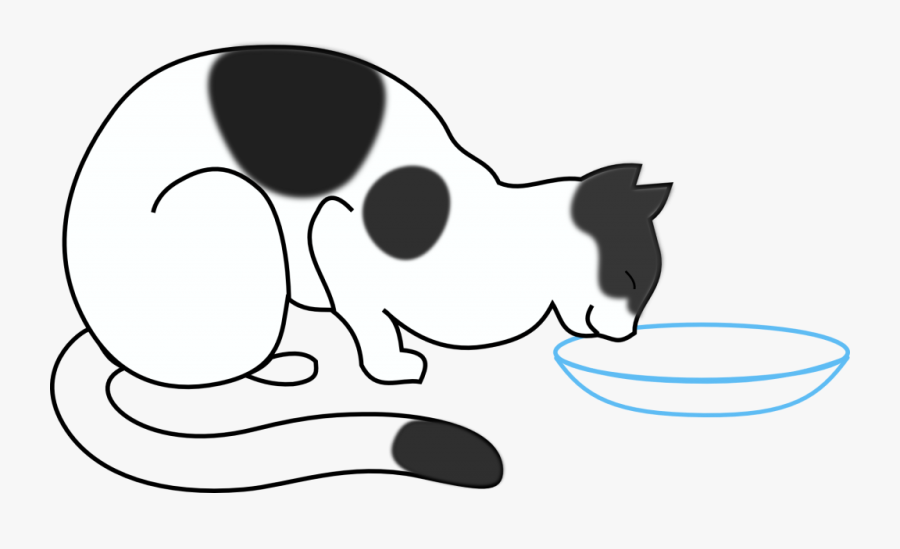 Cat Clipart Drinking Water - Draw A Cat Eating, Transparent Clipart