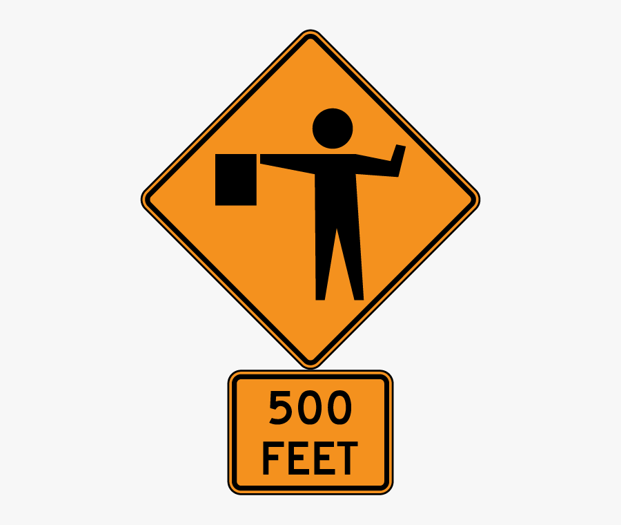 Flagger Ahead Sign, Transparent Clipart