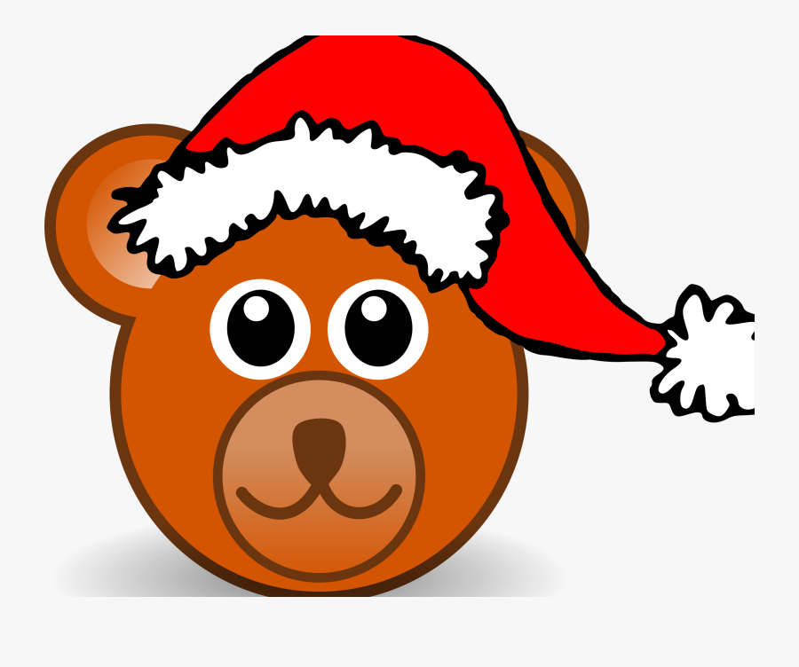 Funny Teddy Bear Face Brown With Santa Claus Hat By - Teddy Bear Face Mask, Transparent Clipart