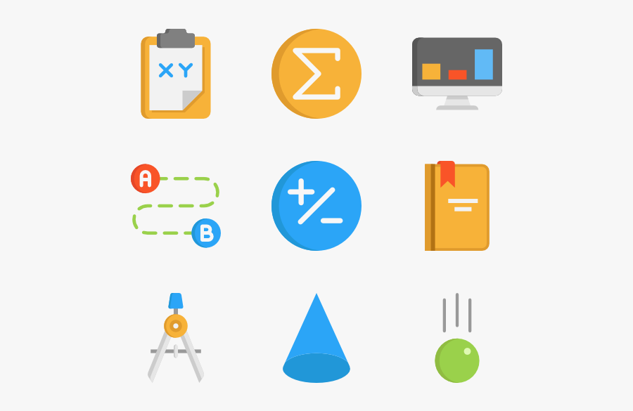 Math Png - Math Symbols - Math Flat Design Png, Transparent Clipart