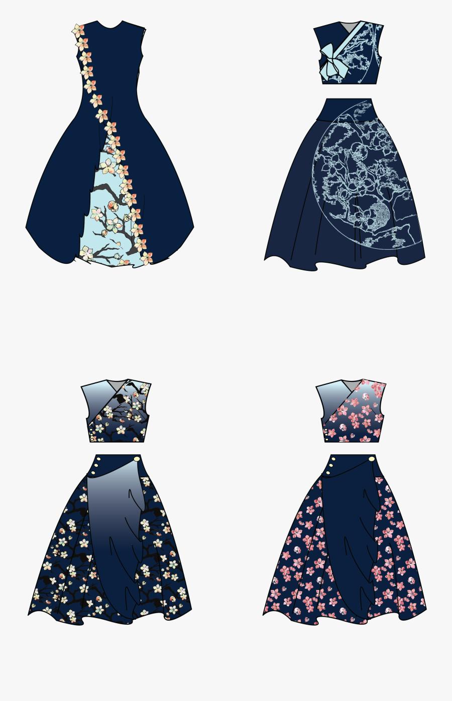 Transparent Vintage Fashion Design Clipart - Cocktail Dresses Designs Drawing, Transparent Clipart