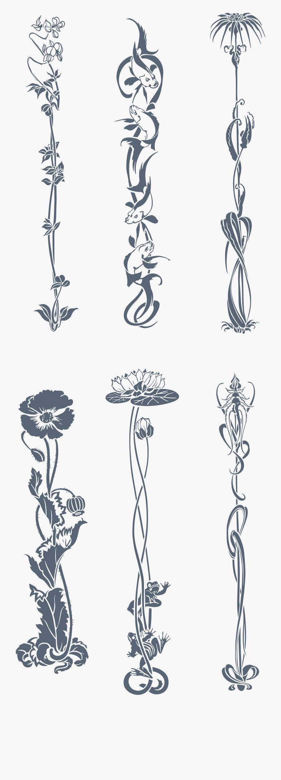 Art Nouveau Ornament Flower, Transparent Clipart