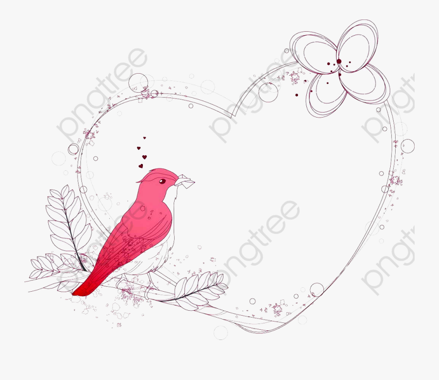 Little Red Bird Png - Vintage Bird Vector Png, Transparent Clipart