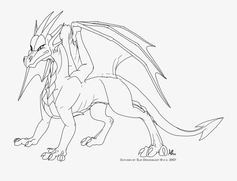 Dragon Clipart Outline Full Body Dragon Drawing Free Transparent Clipart Clipartkey