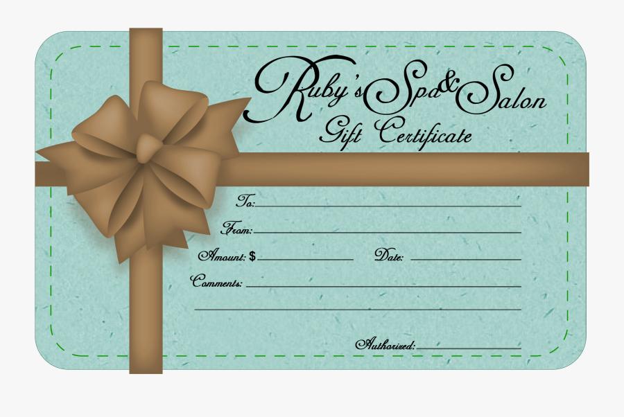 Beauty Parlour Card Voucher - Salon Sample Gift Certificate, Transparent Clipart