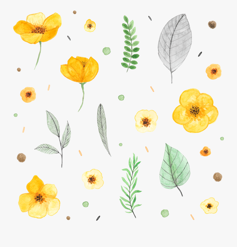 Transparent Watercolor Plants Png - Watercolor Yellow Flower Painting, Transparent Clipart