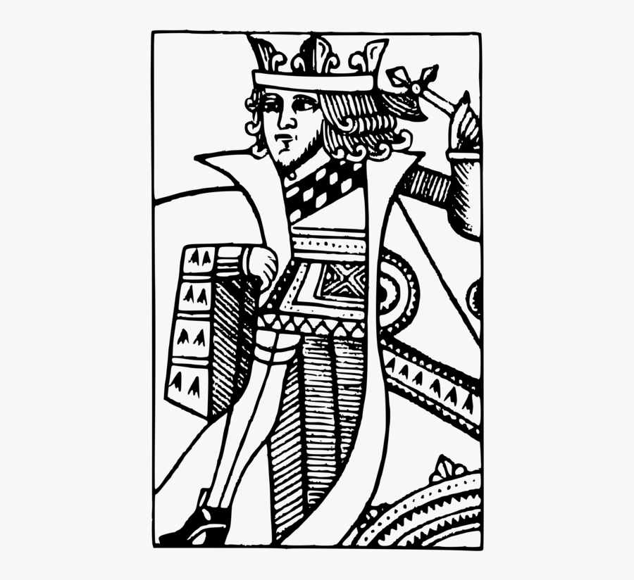 Art,monochrome Photography,text - Playing Cards K Drawing, Transparent Clipart