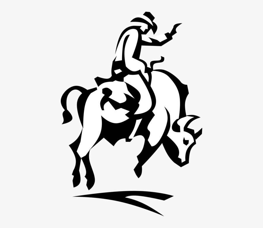 Rodeo Cowboy Rides Bronco Bull - Cowgirl On A Bull Drawing Easy, Transparent Clipart