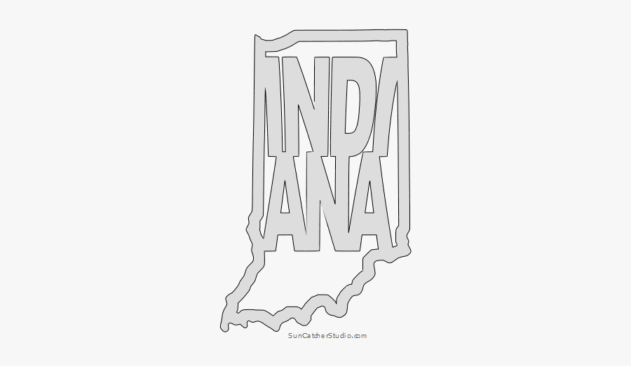 Indiana Map Outline Shape State Stencil Clip Art Scroll, Transparent Clipart