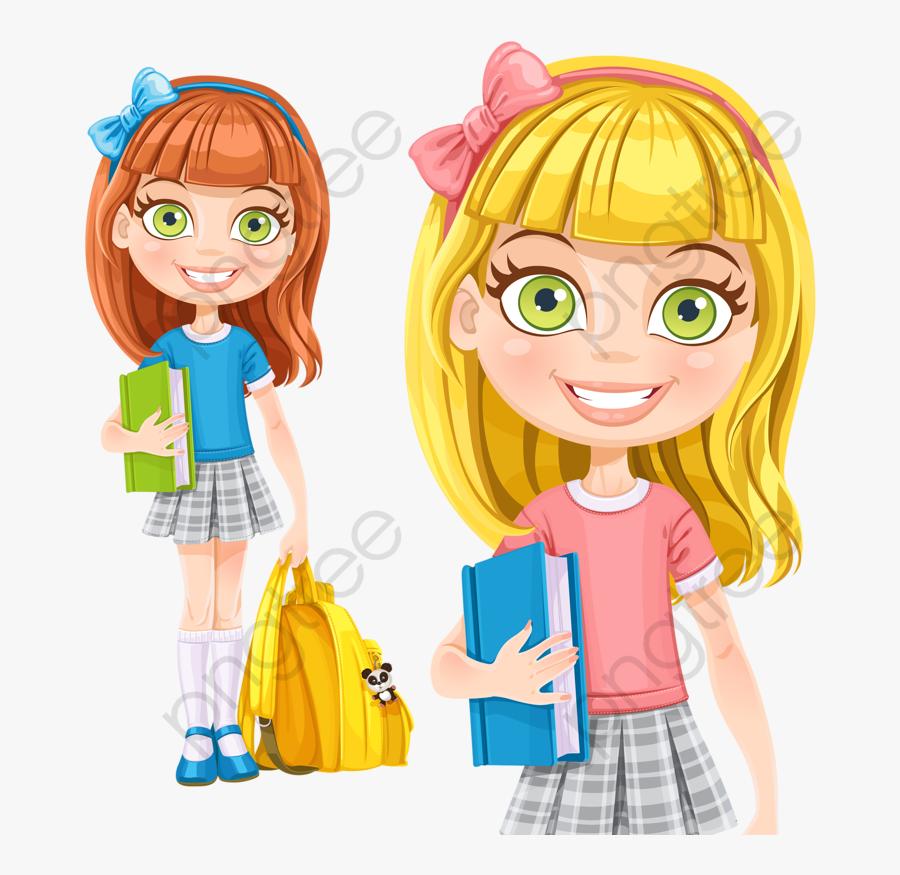Girl School Clipart - Girl Ready For School Clipart, Transparent Clipart