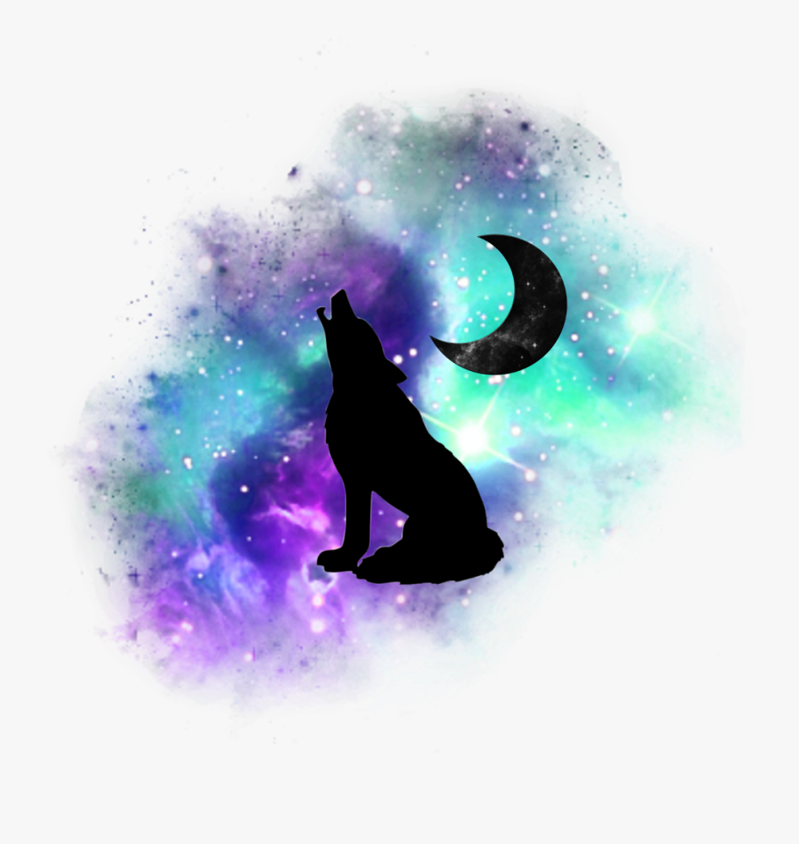 #wolf #moon #galaxy #freetoedit #sticker #stars #star - Space With Transparent Background, Transparent Clipart