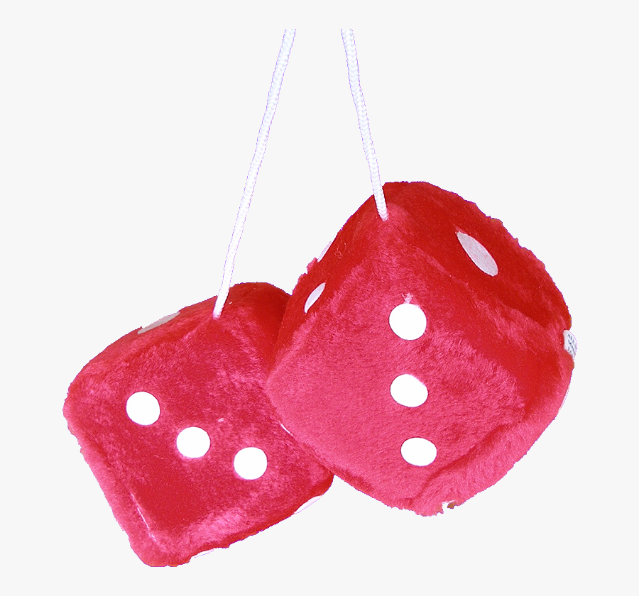 Dice Fuzzy Red Fur White Dots - Fuzzy Dice Transparent Background, Transparent Clipart