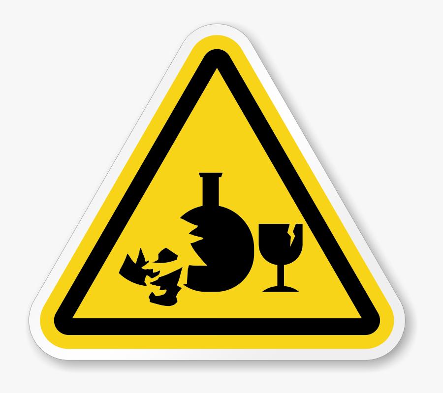 Broken Glass Hazard Symbol, Iso Triangle Warning Sticker - Broken Glass Hazard Symbol, Transparent Clipart