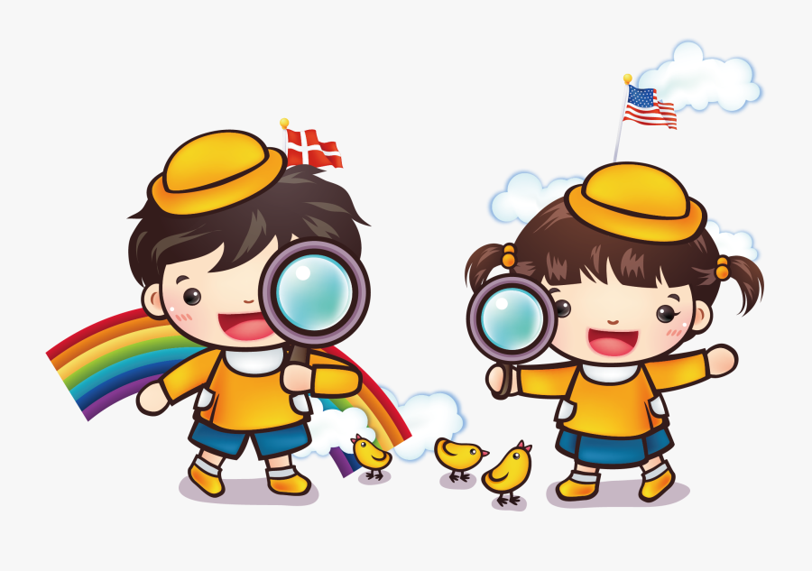 Kids With Magnifying Glass Clipart, Transparent Clipart