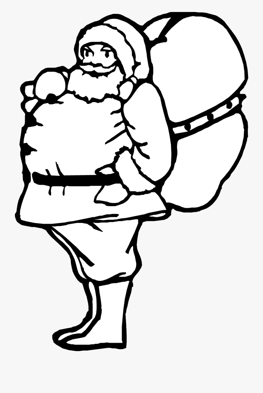 """Santa""""s Bag Of Toys Coloring Page Printable Christmas - Santa With Sack Coloring Pages, Transparent Clipart"""