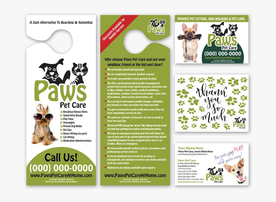 Paws Care - Pet Care Pet Sitting Brochure, Transparent Clipart