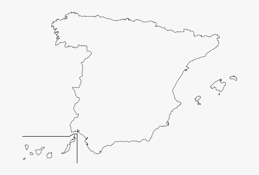 Map Of Outline Map Of Spain With Cities  Spain Clipart - Spain Outline Map, Transparent Clipart