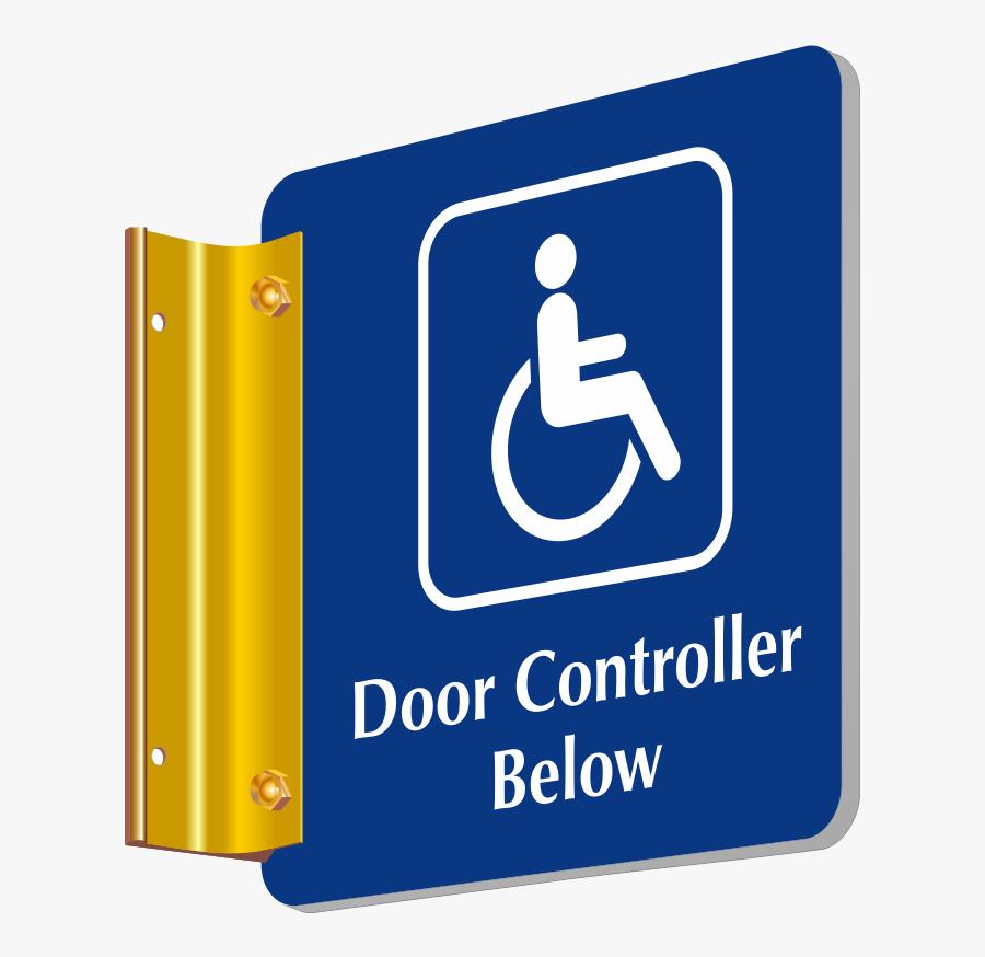 Door Controller Below Sign With Handicap Symbol - Boys Locker Room Signs, Transparent Clipart