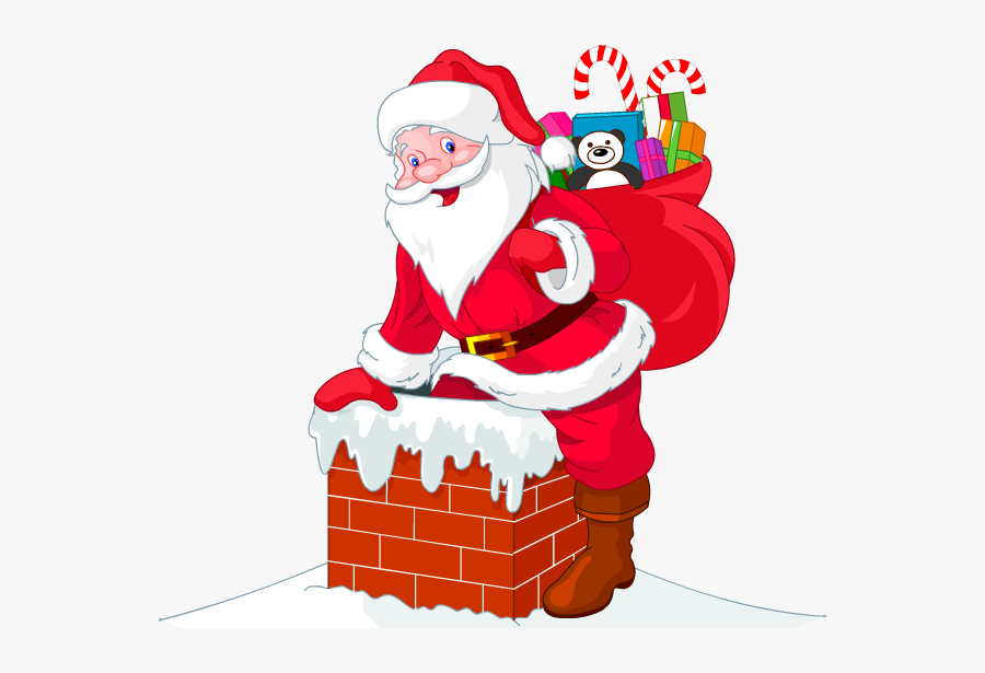 Headphone Clipart Santa Claus - Santa Claus In Chimney Png, Transparent Clipart