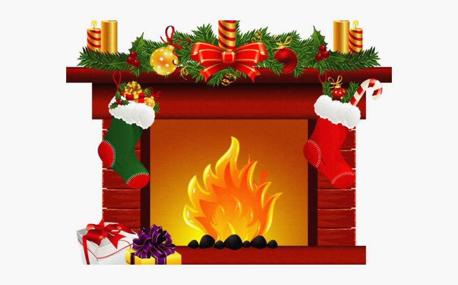 Fireplace Christmas Scene Clipart, Transparent Clipart