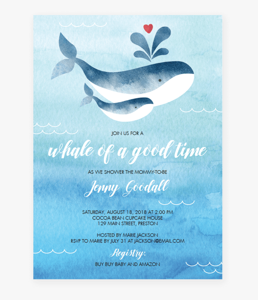 Clip Art Downloadable Baby Shower Invitations - Whale Invitation Set For Boy Baby Shower, Transparent Clipart