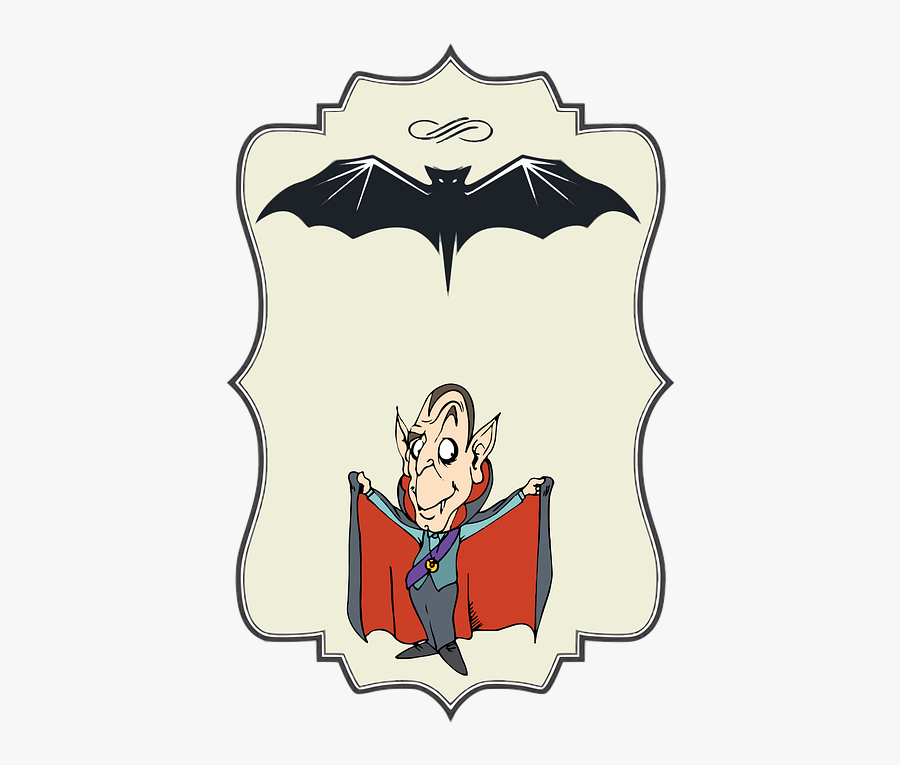 Label, Halloween, Bat, Vampire, Dracula, Scary - Cartoon, Transparent Clipart
