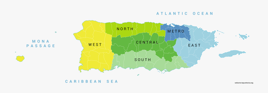Transparent Puerto Rico Png - Puerto Rico Regions Map, Transparent Clipart
