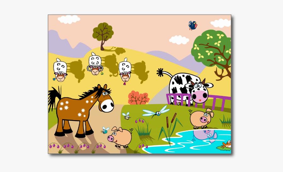 Children Illustration With Animals - Farm Field Animal Cartoon, Transparent Clipart