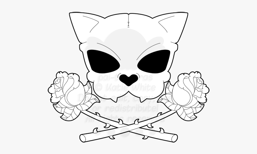 Clipart Skull Cat - Easy Drawn Cat Skull, Transparent Clipart