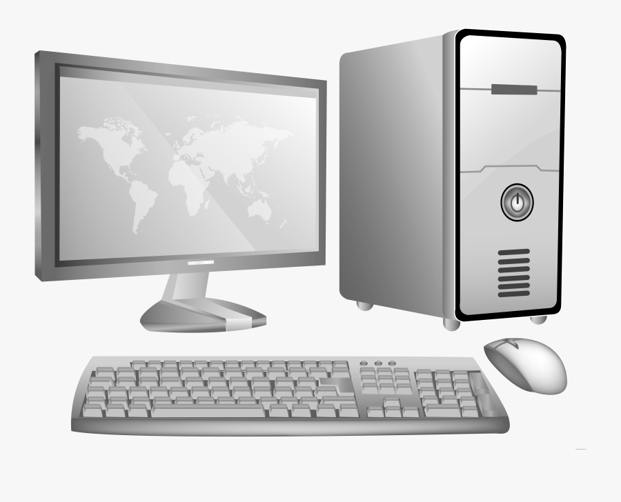 Computer Clipart Black And White Source - Transparent Background Desktop Computer Clipart, Transparent Clipart