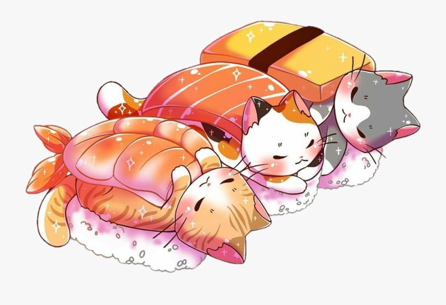 #scanimal #animal #cat #meow #colorful #cute #cartoon - Sleeping Sushi Cats, Transparent Clipart