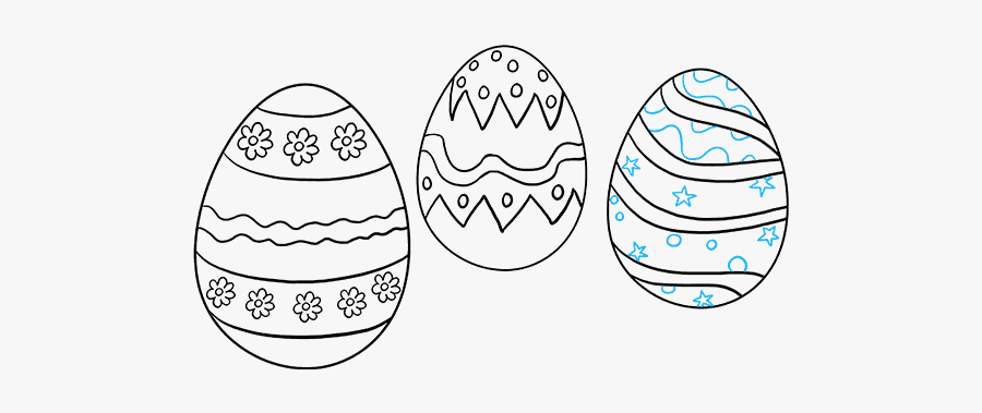 How To Draw Easter Eggs - Easter Bunny Egg Drawing Easy, Transparent Clipart