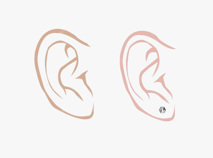 Ear Male And Female With Diamond Earring In Outline - Ears Sketch Male, Transparent Clipart