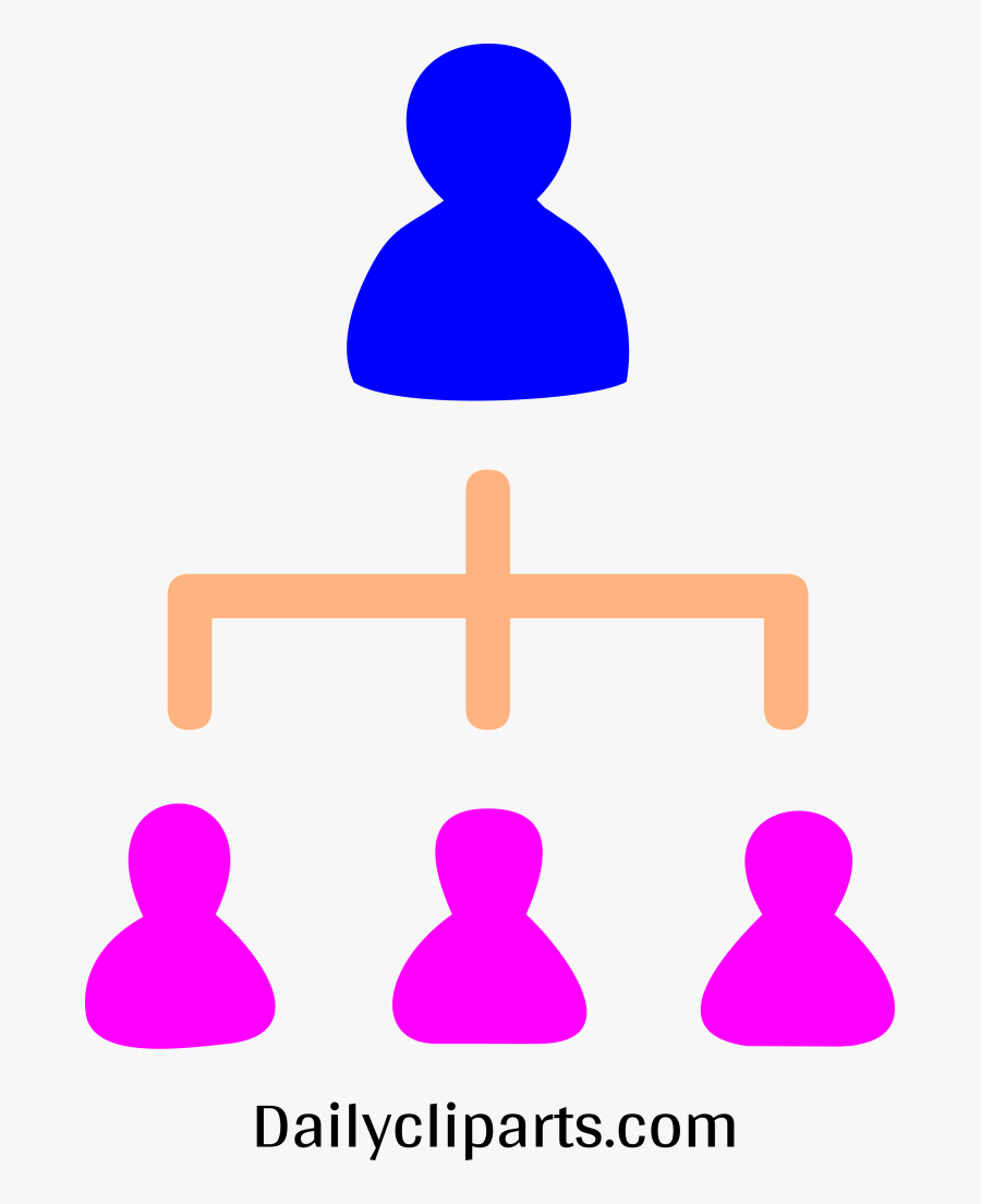 Male Boss 3 Female Managers Office Hierarchy Icon Image - Hierarchy Icon Clipart, Transparent Clipart