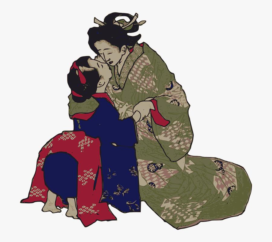 Geisha Kissing, Transparent Clipart